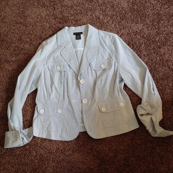 Rafaella Jackets & Blazers - Rafaella baby blue and white striped blazer